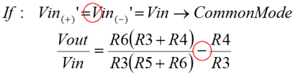 Common mode input equation