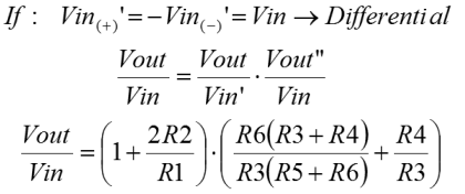 Instrumentation amplifier equation