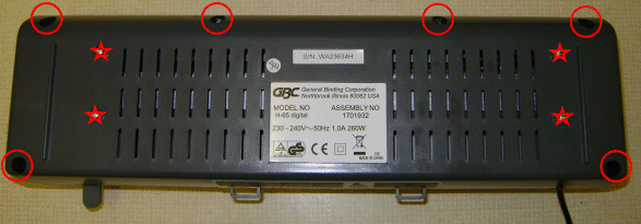 Underside view of the GBC laminator