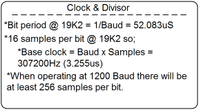 A table showing calcualtion for the module base clock