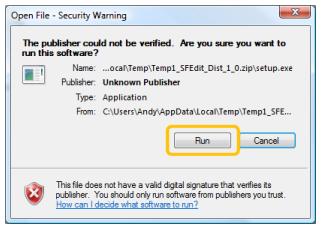 The install warning dialog