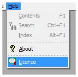 The the licence menu option