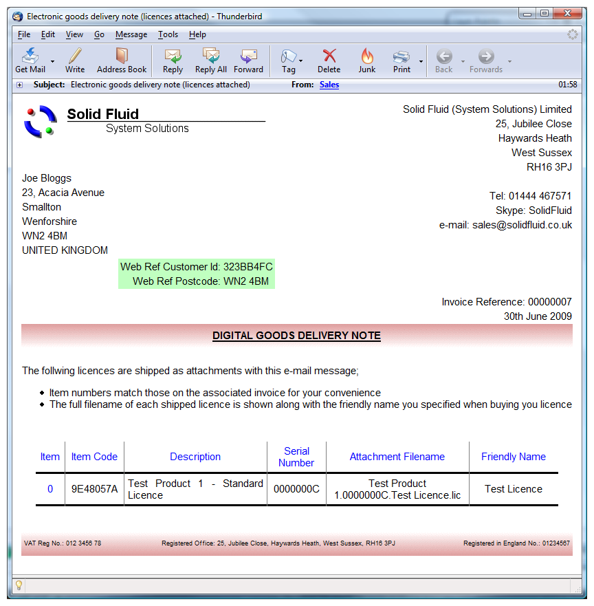 An example delivery note