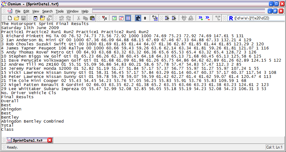 A text file containing tabular spreadsheet data